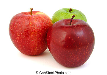 Set of three red and green apples