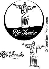 TURISTIC LABEL Rio de Janeiro BRASIL lettering illustration