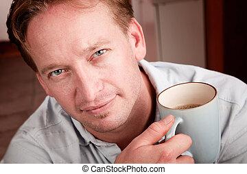 café, bonito, homem