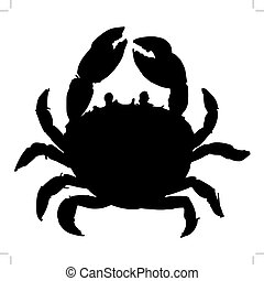 crab - black silhouette of crab