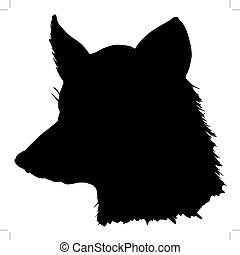 red fox - black silhouette of red fox