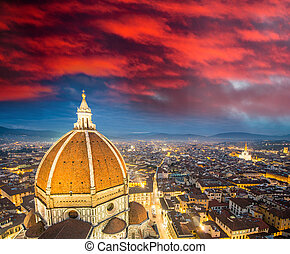 Florence Italy - Aerial bird eye view at sunset from Giotto...