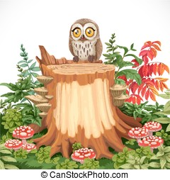 Cute owl sitting on stump surrounded by toadstools isolated on a white background