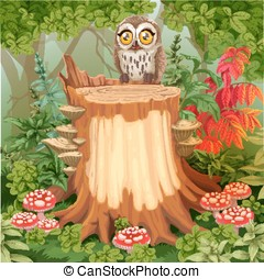 Fairy forest glade with cute owl sitting on stump surrounded...