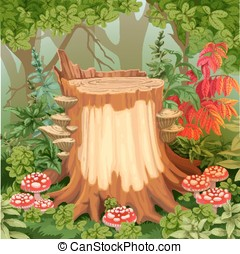Fairy forest glade with drawing stump surrounded by toadstools - a place for your text