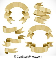 Set of vector festive golden ribbons various forms for decoration isolated on white background 1