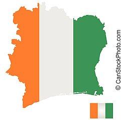 Ivory Coast Flag - Flag of the Ivory Coast overlaid on...