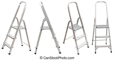 set of short folding step ladder isolated on white...