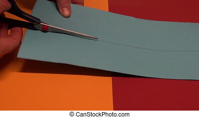 clip with scissors colorful paper - artist hands clip with...