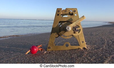 brass clock gears and rose hip sea - antique brass clock...
