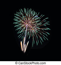 Colorful fireworks on the black sky background - A large...