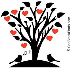 flowered tree heart with songbird