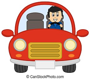 red car with man in a suit