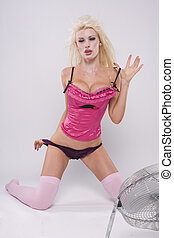 sexy pink girl over white - sexy glamour blonde girl wearing...