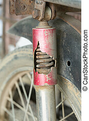 motorcycle chock absorber rusty crack broken