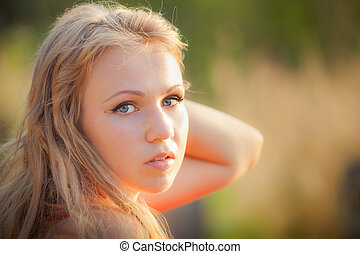 portrait of a beautiful blonde girl