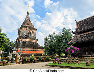 Ancient wooden temple in Chiang Mai, Thailand - Thai Lanna...