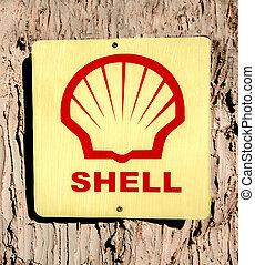 Maehongsont - December 12 : Antique Oil sign on tree at...