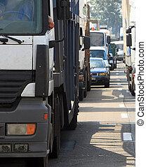 traffic jam 1 - Morning traffic jam on a road in Kiev