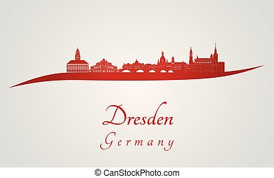 Dresden skyline in red
