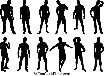 Men Silhouettes - Set of 12 sexy men silhouettes on white...