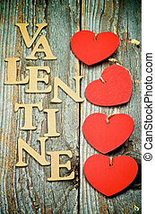 Valentine - Four Red Hearts In a Row and Cardboard Words...