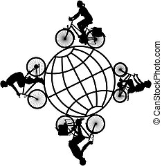 family on bicycles around the world - vector silhouettes of...