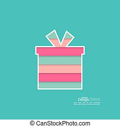 Gift box with a bow on a green background with pink, red,...