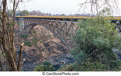 Bridge over Zambezi River connecting Zambia and Zimbabwe, Victoria Falls