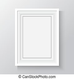 white frame for paintings or photographs on the wall.