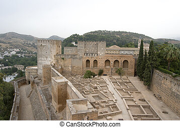Alcazaba fortress at the Alhambra in Granada Spain.