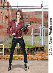 Thug - Woman gang banger holding a baseball bat