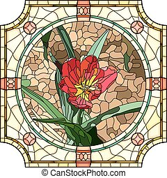 Mosaic of flower red tulip. - Vector mosaic of brightly red...