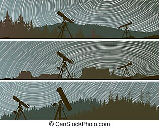 Circles on the sky over the forest. - Set horizontal banners...