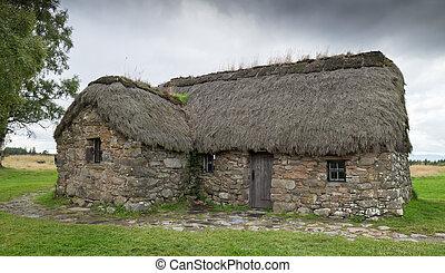 cabaña, en, Culloden, campo de batalla,