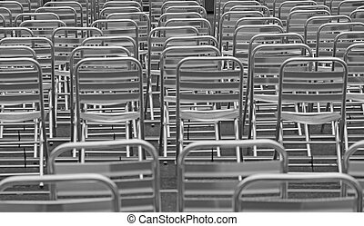 aluminium chairs without viewers before the show - many...