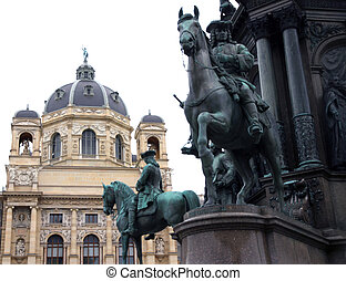 equestrian statue with Knight and Palace in the city of vienna