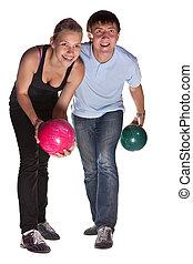 Bowlers - Pretty couple with two color bowling balls...