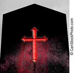 big Red Cross on black tomb of hell - huge Red Cross on...