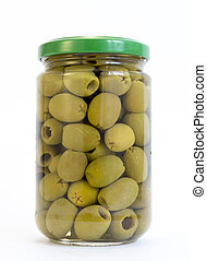 Green olives jar - Green olives in a jar isolated on white
