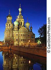 Church Savior on Blood in St-Petersburg, Russia. Night view....