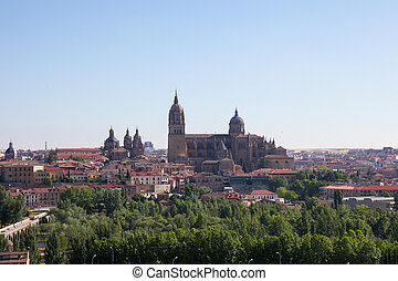 Ciudad Rodrigo - Aerial view on the cathedral and historic...