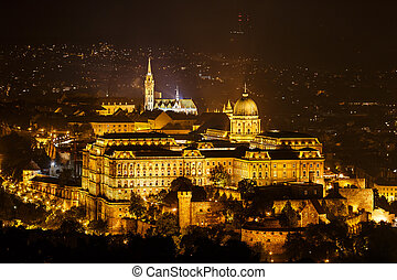 Royal Palace or Buda Castle at night Budapest, Hungary