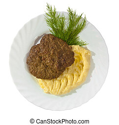Dinner - Tasty mashed potato with meat rissole served with...