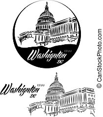 TURISTIC LABEL washignton dc eeuu lettering illustration