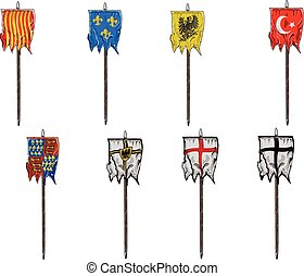 Medieval Flags - This file include several vectors, hand...