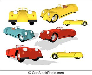 Old timer in various positions and