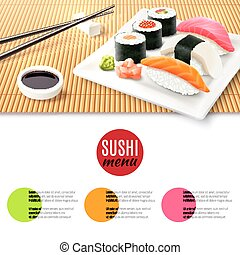 Sushi And Bamboo Mat - Sushi roll realistic and bamboo mat...