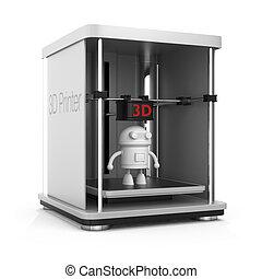 3D printer and a robot inside. Original design for 3D print...
