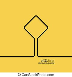 Abstract yellow background with black signs. Road sign....